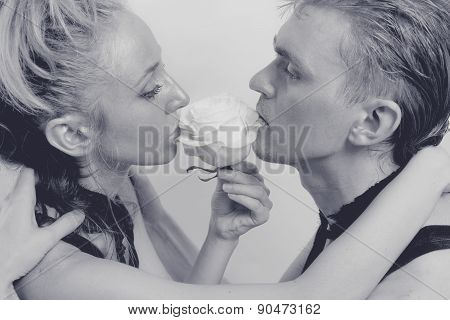 Young Couple In Love With A White Rose And Silver Make-up