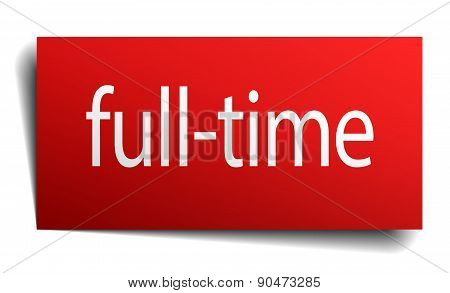 Full-time Red Paper Sign On White Background