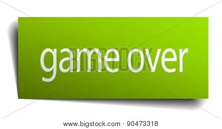 Game Over Green Paper Sign Isolated On White