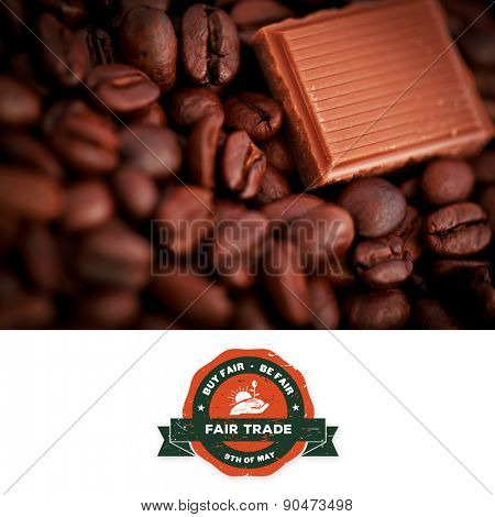Fair Trade graphic against piece of chocolate and coffee seeds together