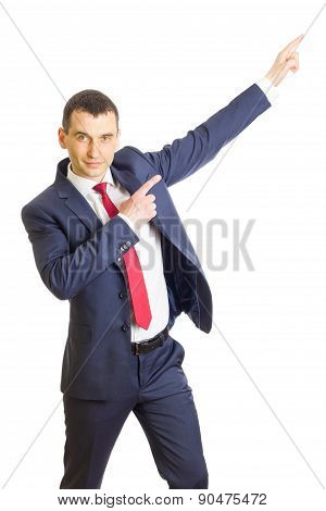 Businessman Pointing Showing Copy Space