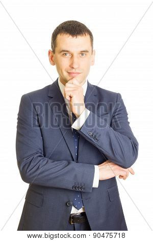 Young Businessman With Finger On Chin