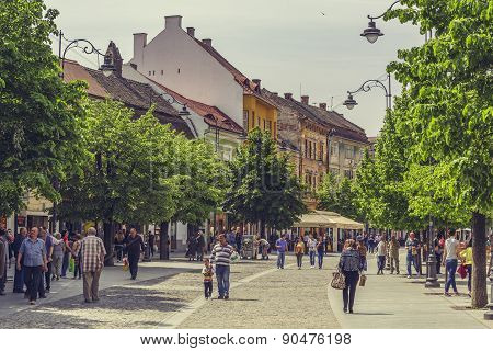 Crowded Historic Center Of Sibiu City, Romania