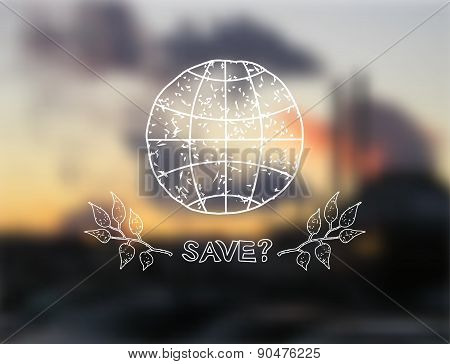 Hand Drawn Earth And Tree Leaves On Blurred Background