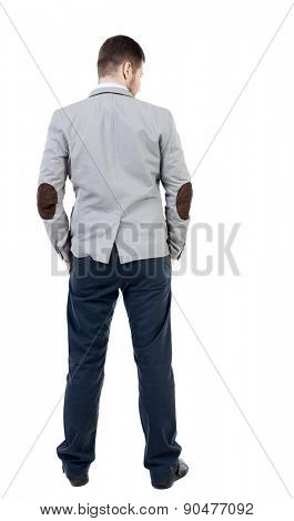 back view of Business man  looks.  Rear view people collection.  backside view of person.  Isolated over white background. Sad man looking down