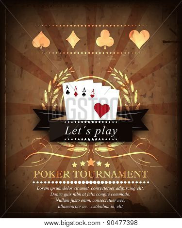 Poker tournament vector background. Design 1.