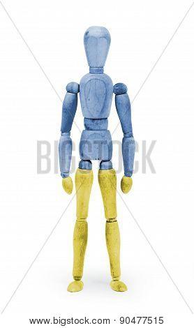 Wood Figure Mannequin With Flag Bodypaint - Ukraine