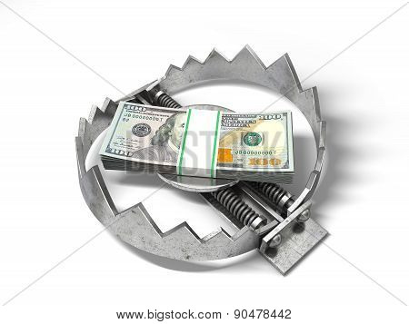 Stack of money in the bear metal trap. 3D concept.