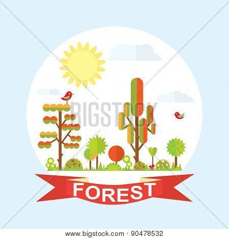 Flat vector tree illustration, autumn, flower