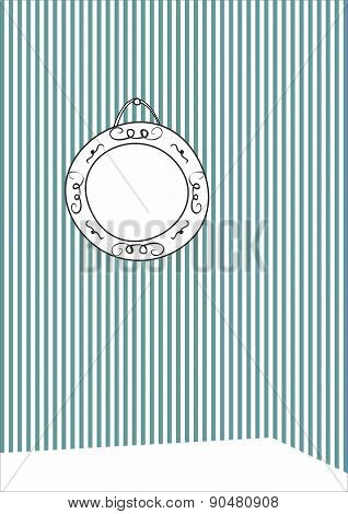 Hand drawn vector frame on stripes wall background
