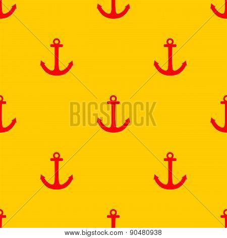 Tile sailor vector pattern with red anchor on yellow background