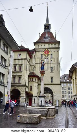 Bern Prison Tower With A Red Street Car