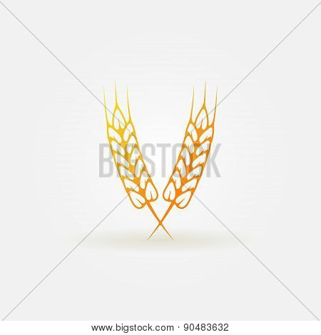 Ears of wheat bright logo or icon