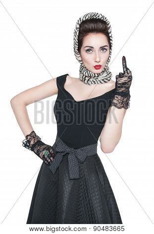Beautiful Woman In Retro Pin-up Style Showing Middle Finger Isolated