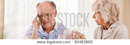 Senior Man With Migraine