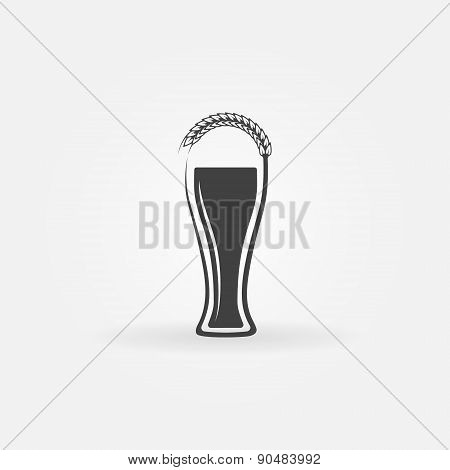 Glass of beer logo with ear of wheat