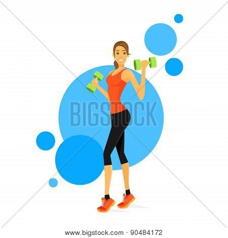 Sport Woman Show Bicep Muscles Fitness Trainer