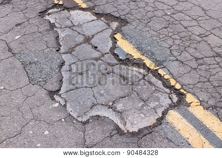 Damaged Asphalt Road