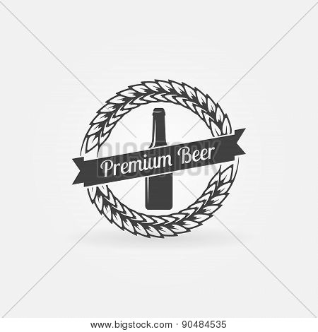 Premium beer bottle logo