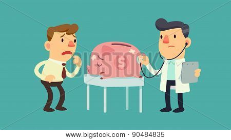 Businessman And Sick Piggy Bank
