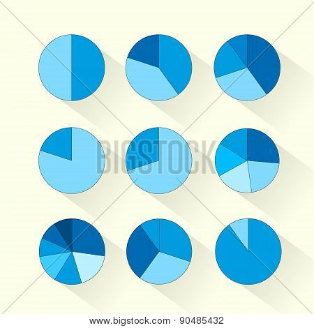 Finance Circle Pie Diagram Set Blue Business Infographic