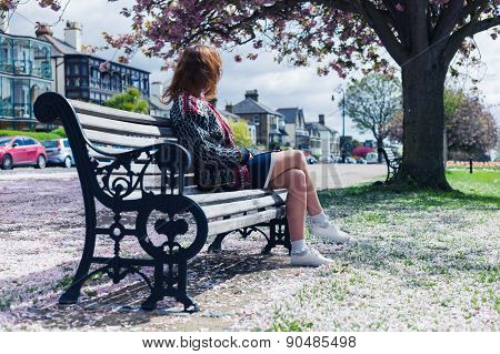 Woman Sitting On Park Bench With Cherry Blossom