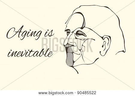 profile portrait of old man in graphic style