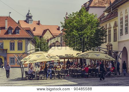 Crowded Sidewalk Cafe, Sibiu, Romania