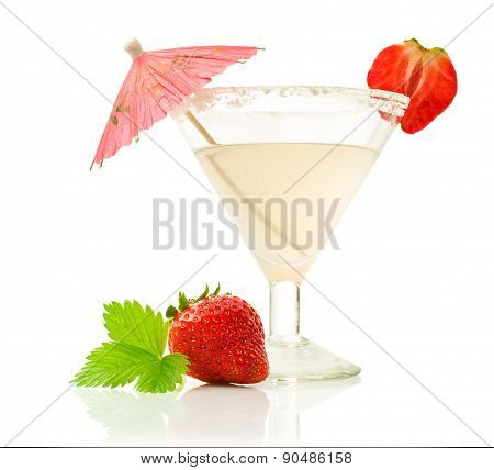 Glass Beverage With Ripe Strawberries