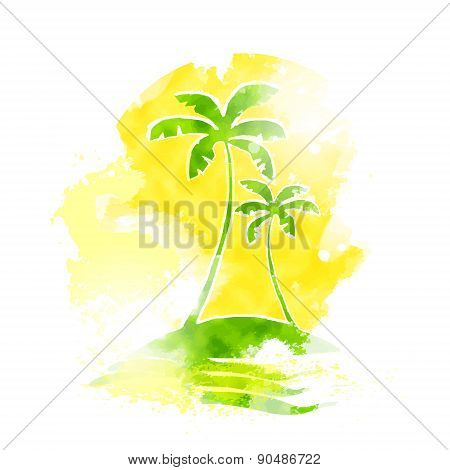 Palm Tree Tropical Island Water Grunge Color Summer