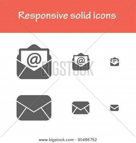 Responsive Solid Post-mail Icons