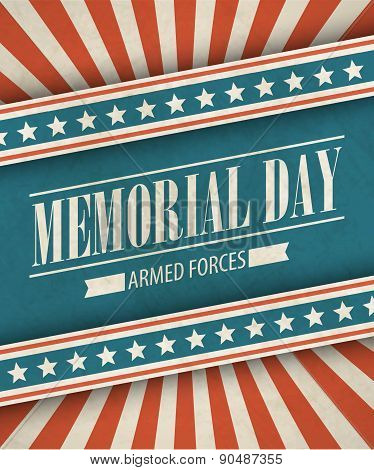 Memorial Day. Typographic card with the American flag. Vector illustration