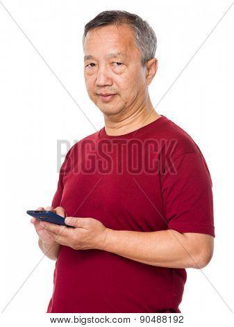 Senior man use of cellphone