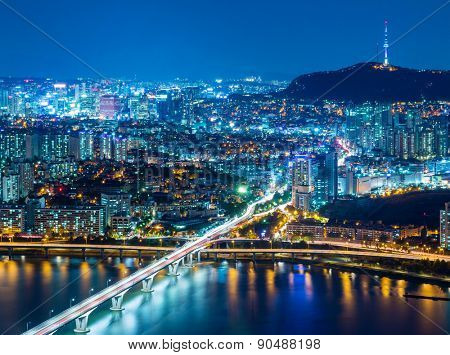 Seoul, South Korea skyline at night