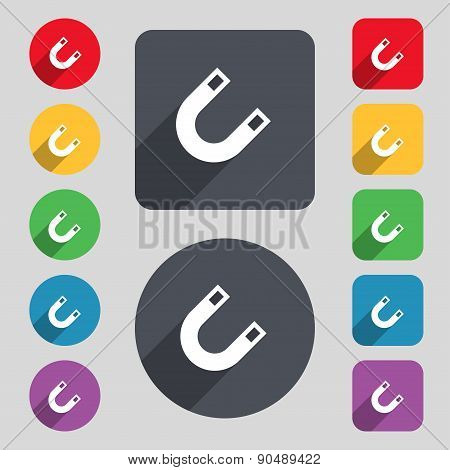 Magnet, Horseshoe Icon Sign. A Set Of 12 Colored Buttons And A Long Shadow. Flat Design. Vector