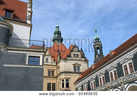 View From Stables Courtyard Toward George Gate, Dresden, Saxony, Germany.