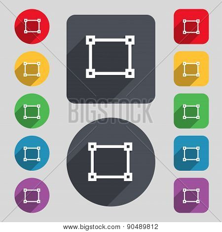 Crops And Registration Marks Icon Sign. A Set Of 12 Colored Buttons And A Long Shadow. Flat Design.