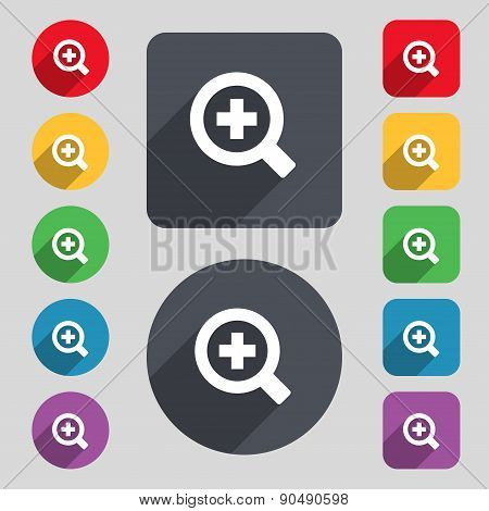 Magnifier Glass, Zoom Tool Icon Sign. A Set Of 12 Colored Buttons And A Long Shadow. Flat Design. Ve