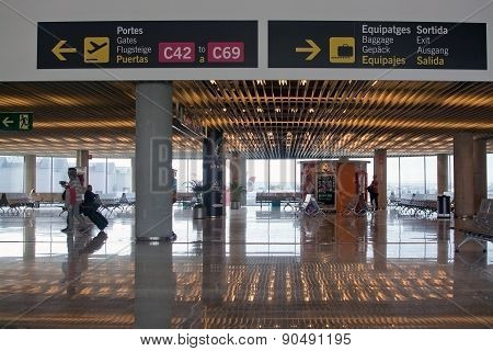 Airport interior with information signs