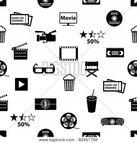 Movie And Cinema Vector Icons Seamless Pattern Eps10