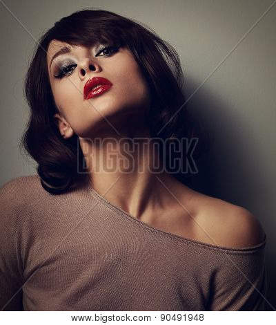 Sexy Posing Woman In Blouse With Short Hair Style On Dark Background