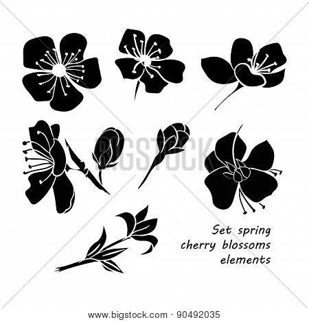 Set Of Black Silhouette Spring Cherry Blossom Flowers