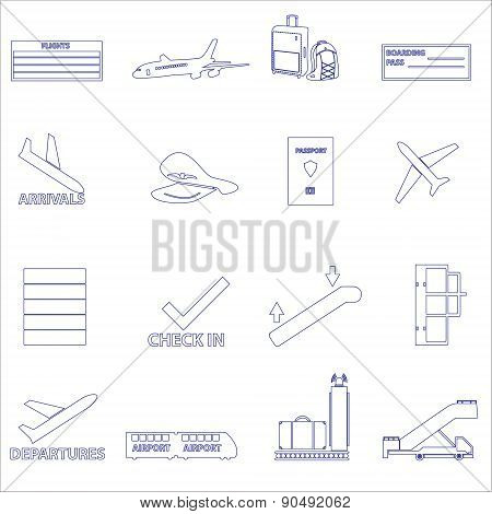 Airport And Airplane Simple Outline Icons Set Eps10
