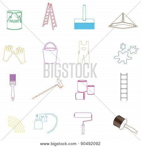 Paint And Room Painter Outline Icons Set Eps10