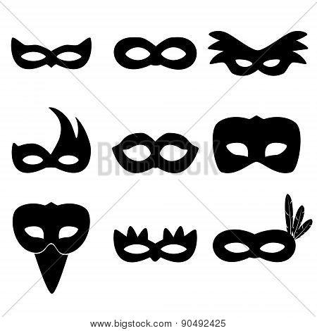 Carnival Rio Black Masks Simple Icons Set Eps10