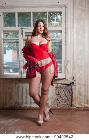 Pretty sexy woman in red lingerie