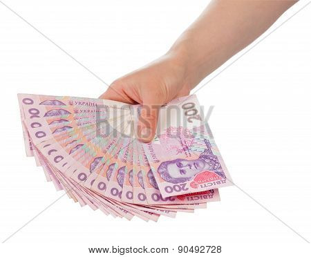 Ukrainian Money in hand