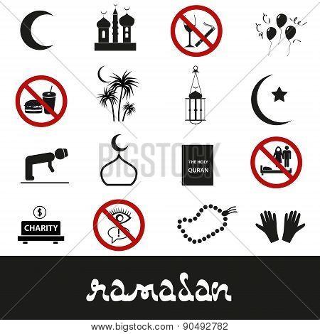Ramadan Islam Holiday Black Icons Set