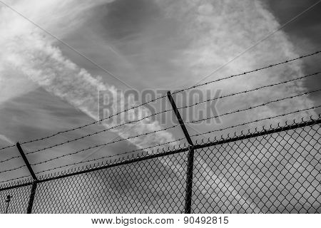 Camp Fence In Black And White