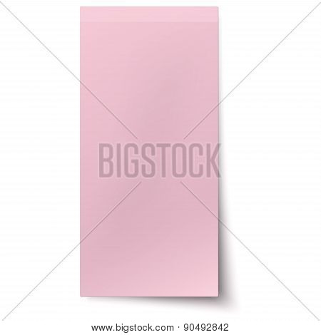 Pink, Rosy Vertical Sticky Note Isolated On White Background